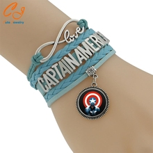 2016 Multilayer Braided Bracelets Antique Alloy Captain America Alphabet Charm Bracelet Korea Cashmere Leather Bracelet Bangle