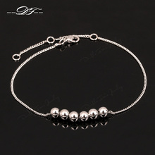 Simple Style Metal Beads Charm Foot Chain Anklets Wholesale Silver Color Fashion Brand Jewelry For Women DFA025(China)