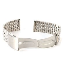 Stainless Steel Metal Strap Silver Watch Band Unisex Bracelet Double Fold Deployment Clasp Watch  Buckle18 20 22mm