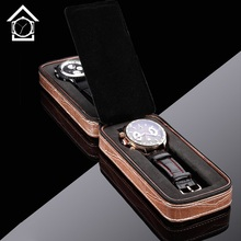 2 Grids Leather Watch Box Brown Special Design Watch Display Watch Case New Style Alligator Patten Watch Gift Box A0125