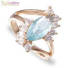 Yunkingdom Wedding CZ Rings for Women Fashion Crystals Rings Wholesale Luxury Flower Jewelry Women(China)