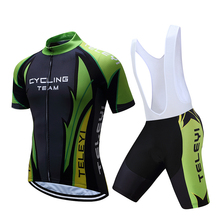 Green Scotte Summer Cycling jersey Set 100% Polyester Bike Sportswear Mountain Bicycle Clothing For Man Maillot Ropa ciclismo(China)