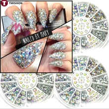 3D Nail Art Decoration Nail Art Tips Crystal Glitter Rhinestone  white AB Color Acrylic Drill about 300 Pcs Mix 3Sizes