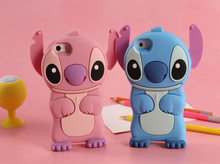 2016 New Style cute cartoon model silicon material Stitch 3D shape Movable Ear cover phone Case for Apple iPhone 4 4S 5 5S 5C SE