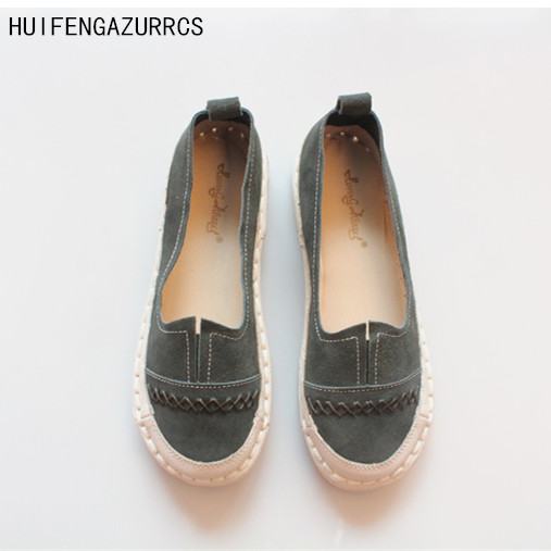 HUIFENGAZURRCS-The Japanese Sen female art RETRO nubuck leather handmade shoes round soft comfort at the end  leisure shoes<br>