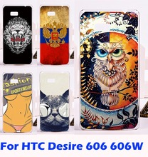 Custom Hard Plastic Owl Printed Cell Phone Cases For HTC Desire 606 Case 600 606W Back Cases Cover Housing Bag Coque