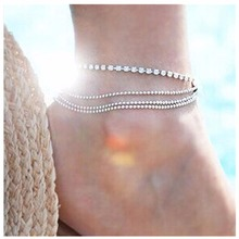 L156 Hot Men Bijoux European Charm Silver Plated Beads Multilayers Crystal Rhinestone Anklets Women Foot Bangle Jewelry Gifts