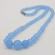 "New Fashion Shallow Blue Chalcedony Round Bead 6-14mm Necklace 18 "" DIY Stone Design Women Elegant and Beautiful Jewelry"
