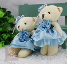 Blue Wedding Dress Joint Bear Plush Toys Doll Cartoon Bouquet Packaging Materials Wholesale Teddy Bear