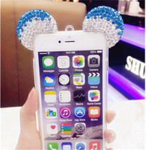 Hot Handmade Mickey Ear bling bling Diamond tpu Case Cover For iphone6 6s plus 5.5/4.7