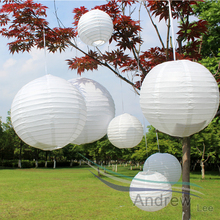 Cheap! White Color Lantern Wedding Decor Round Chinese Paper Lanterns For Home Party Decoration 7pcs/set Mixed Sizes(10cm-40cm)(China)