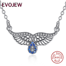 Luxury Fine Jewelry Clear & Blue CZ Inlay Angle Wings Charm Pendant Necklace for Women 925 Sterling Silver Chain Necklaces