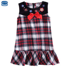 novatx H6085D 2017 new summer baby girl sleeveless dress floral plaid girl dress with patten new design for girl dress hot top(China)