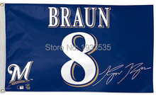 Milwaukee Brewers Braun Player Jersey Flag Banner Flag 3' x 5' NFL MLB Fan Flag Banner brass metal holes Flag(China)