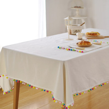Original Scandinavian white tablecloths with tassels home Christmas decoration cover towel table cloth linen home textile