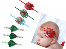 6pcs   girl Christmas tree headbands beautiful Chiffon lace flowers with Sequined Bows hair band accessories SD004