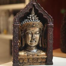 Southeast Asian style, arts and crafts, Buddha statue, Buddha head, ornaments, resin decoration, buddhist, buddhism figurine~(China)