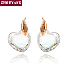 Top Quality Clear Heart Rose Gold Color Stud Earrings Jewelry Made with Genuine Austrian Crystal Wholesale ZYE182 ZYE345