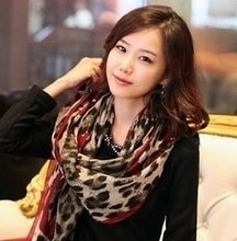 2012 new style sexy brown leopard wine red peach heart scarves