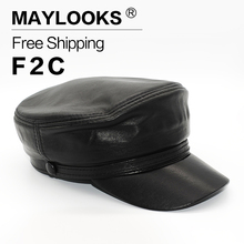 Maylooks 2017 Genuine Black Lambskin Leather Man's Cap Women Handsome Military Hats Caps Free Shipping Genuine Leather Hats CS43(China)