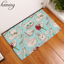 Homing Durable Dustproof Light Thin Entrance Door Mats Rose Cat Breakfast Pattern Carpets Water Absorption Mats Home Decoe Craft