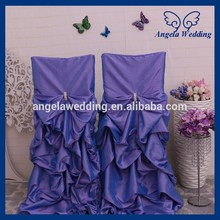 CH003K wholesale fancy polyester universal ruffled wedding light purple lilac gathered chair cove
