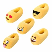 Women's Slipper Cute Indoor Warm Emoji Slippers Winter Plush Shoes Smiley Emoticon Winter Soft Slippers 35-44(China)