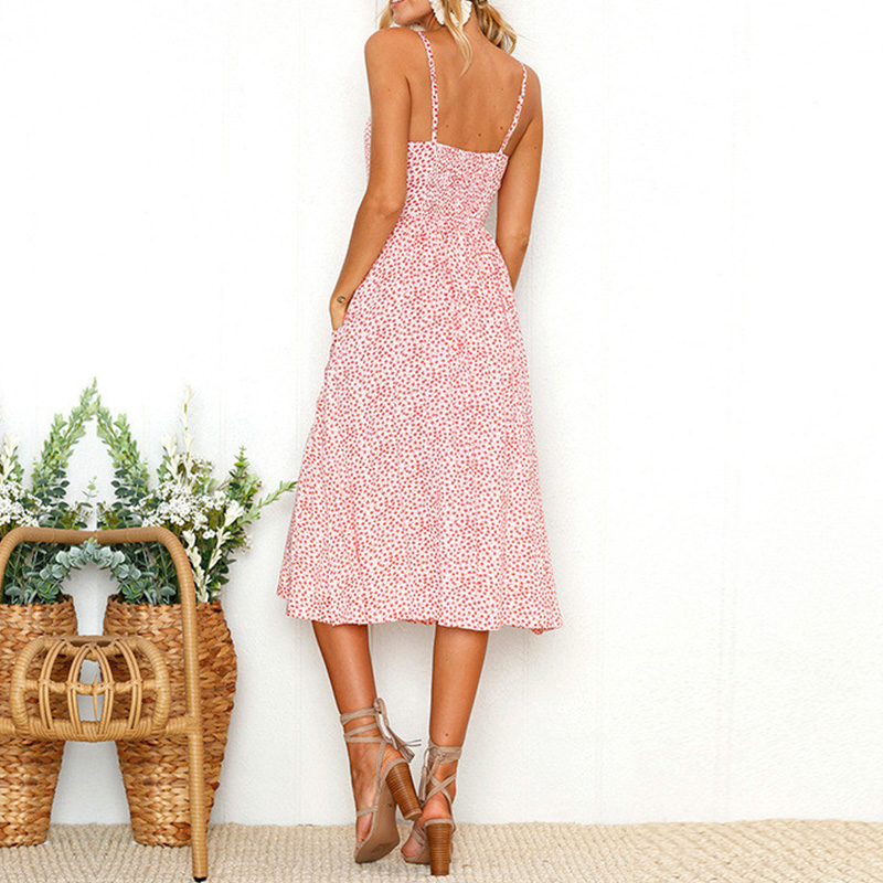 Summer 2018 Strap Print Floral Dot Long Boho Bohemian Beach Dress Women Sundress Sexy Casual Loose Elegant Vintage Ladies Dress 12