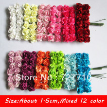MIXED COLOR!! Free shipping 288PCS/LOT Mini Mulberry Paper Flower Bouquet / Scrapbooking artificial rose flowers