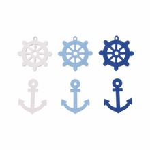 50pcs Clothing Sewing Buttons Wooden Kids Buttons Decoration Craft Anchor Steering Wheels DIY Phone Scrapbooking Embellishmen
