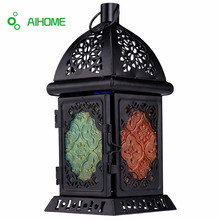 Moroccan Style Matte Cream White Cast Iron Handmade Square Scrollwork Candle Lantern Home Decoration For Restaurant Park Bedroom(China)