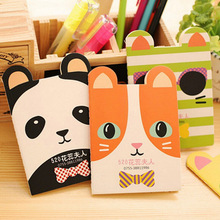 Cute Kawaii Cartoon Cat Panda Notebook Journal Mini Animal Dog Bowknot Exercise Book for Kids Stationery Free shipping 332