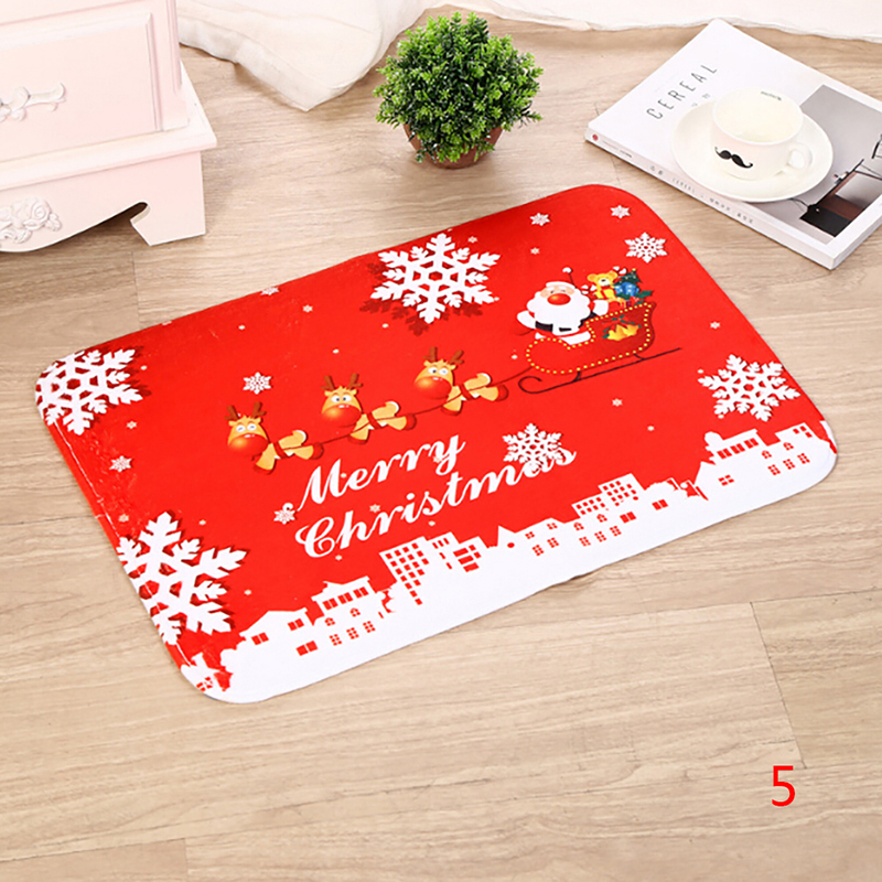 Outdoor Carpet  Santa Claus Merry Christmas Door Mat For Home Xmas Party Favors New Year Flannel Christmas Decorations