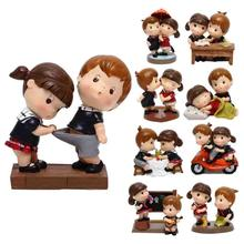 2pcs Resin cartoon Little Children Figurines Car Dolls Decoration,Home Decor Boy and Girl Toys Car Accessories Graduate Gift 3