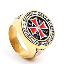 eejart Antique Stainless Steel Gold/Silver Iron Knights Templar Cross Ring Cubic Zirconia Setting Band for Wedding