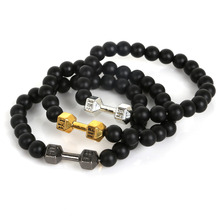 New Design 8mm Black Stone Beads Different Shapes Bracelets Men's Energy Lion&Leopard&Helmet&Buddha&Barbell Jewelry Bracelet