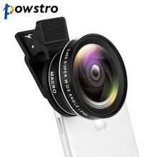Powstro Phone Lens Kit 0.45X Wide Angle + 12.5X Macro Lens Clip-on Cellphone Camera Without Dark Corner For All Phone(China)