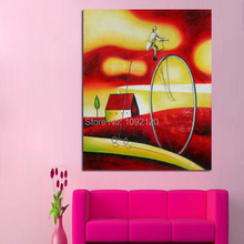 Handmade Modern Abstract Oil Painting Manifestation Style Paintings Bicycle Wall Art Home Decor For Living Room(China)