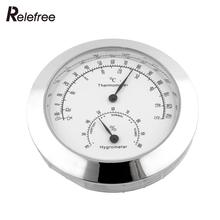 New Alloy Silver Round Humidity Moisture Thermometer Hygrometer Case For Guitar Violin Mini Useful Portable
