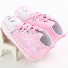 Classic Branded Infant princess lace dot hello kitty Pink girls first walkers baby girls canvas shoes BeBe Sneakers