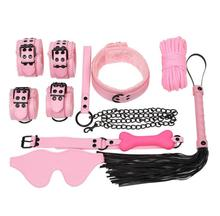 Buy 7pcs Bondage Restraints Slave Bdsm Collar Rope Pu Leather Hand Cuffs Fetish Mask Mouth Gag Exotic Accessories Black Red Pink