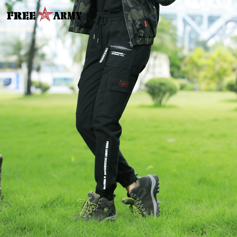 FreeArmy Hip Hop Black Pants Women Sports Autumn Pants Printing Streetwear Sweat Pants Elastic Female Work Pants For Women