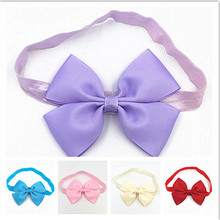 2018 High Quality Solid Hairbands Princess Big Bowknot Hair Band girl Hair Accessories headband cute Hair Band newborn Headband(China)