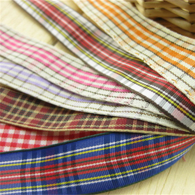 """8 colours 5meter/lot 5/8""""(16 mm) wedding decoration Polyester Plaid DIY accessories RibbonComputer embroidery ribbon T-018"""