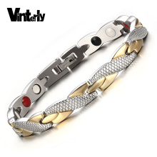 Vinterly Health Energy Magnetic Ion Germanium Bracelet Men Pulseras Hombre Chain Link Stainless Steel Bracelet Bangle Women Men(China)