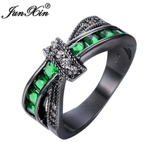 JUNXIN Men Green Cross Ring Fashion White & Black Gold Filled Jewelry Vintage Wedding Rings For Women Birthday Stone Gifts