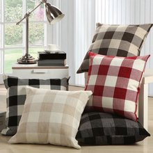 Decorative Linen Cushion Covers Black Red Plaid Throw Pillow Cover Square Mediterranean Style Office Sofa Decor 55x55cm/45x45cm(China)