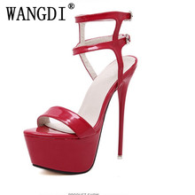 Buy 2018 Sexy Fetish Clubwear Party Shoes Ultray Extremely High Heel Strapy buckles Platform Sandals Stiletto Ankle Strap Pumps