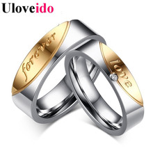 Uloveido 1PC Gift Rings for Women Jewelry Forever Love Steel Ring Men Cubic Zirconia Wedding Bijouterie Anillos Mujer Anel CR058(China)
