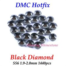 DMC Black Diamond SS6 1.9-2.0mm 1440pcs Glass Crystals Hotfix Rhinestone Iron-on Rhinestones Shiny DIY Garment Bag With Glue(China)